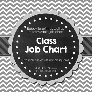 Chic Classroom Jobs Chart in Circles or Squares
