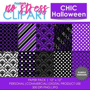 Chic Halloween Purple Digital Papers