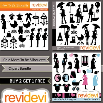 Chic Mom To Be Silhouette clip art bundle (3 packs)