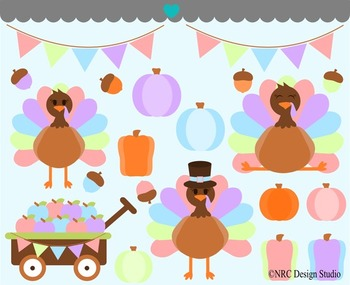 Chic Thanksgiving Turkeys Clip Art