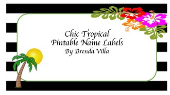 Chic Tropical Name Labels (pineapple, flamingo, palm, etc.)