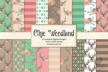 Chic Woodland digital paper, seamless patterns, peach pink and mint backgrounds