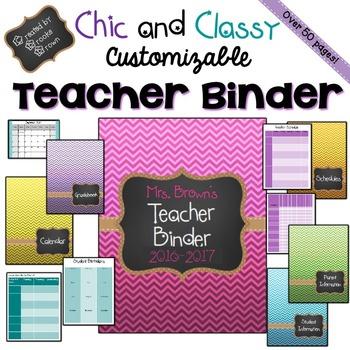 EDITABLE Teacher Binder 2017-2018 {Chic and Classy}