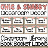 Chic and Shabby Classroom Library Book Bins Labels | Book Baskets
