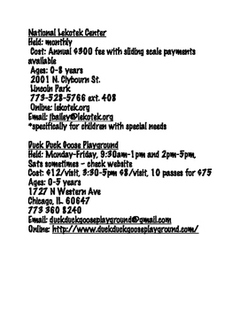 Chicago Area Playgroups
