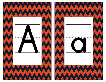 Chicago Bears Inspired Blue and Orange Alphabet Cards for