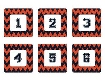 Chicago Bears Inspired Navy and Orange Chevron Calendar Pieces-Editable