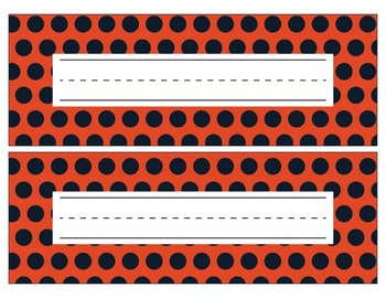 Chicago Bears Inspired Navy and Orange Editable Name Plates/Word Wall