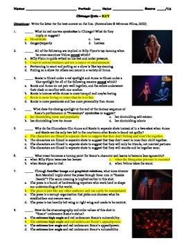 Chicago Film (2002) 15-Question Multiple Choice Quiz