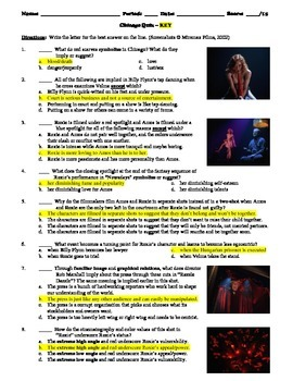 Chicago Film (2002) 15-Question Multiple Choice Quiz
