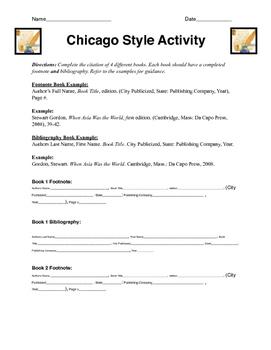 Chicago Style Citation Activity