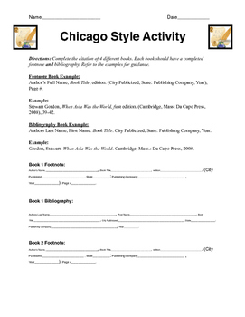 Chicago Style Citation Activity