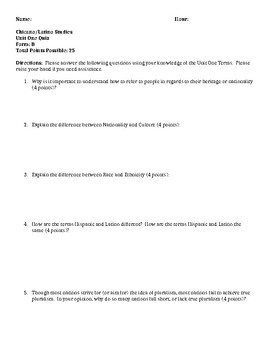 Chicano/Latino Ethnic Studies Quiz - 2 Forms (Introductory Topics)