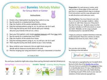 Chick & Bunny Melody Making Cards - so-mi-la, ta, ti-ti, rest - FREE