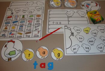 Chick Centers Spring Activities Farm Centers Tally Marks CVC Words Literacy