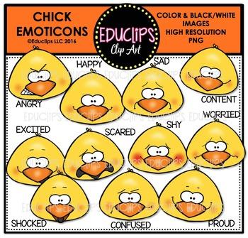 Chick Emoticons Clip Art Bundle