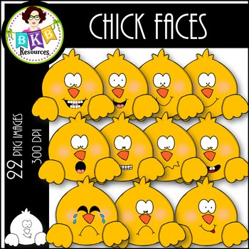 Chick Faces ● Clip Art ● Products for TpT Sellers