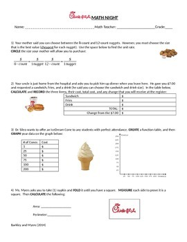 Chick-Fil-A Math Night