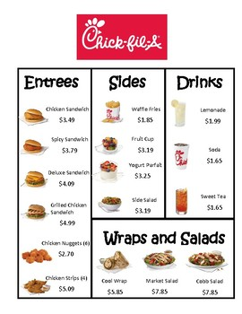 picture regarding Chick Fil a Menu Printable identify Chick-Fil-A Menu Math