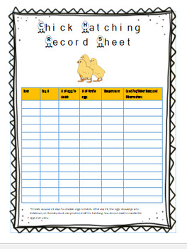 Chick Hatching Record Sheet and Life Cycle Worksheet