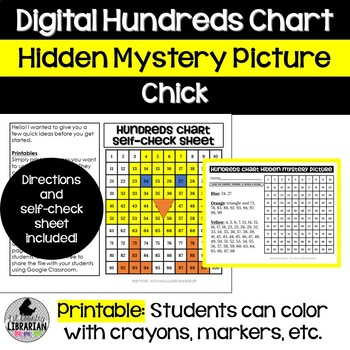 Chick Hundreds Chart Picture Activity for Easter or Spring Math