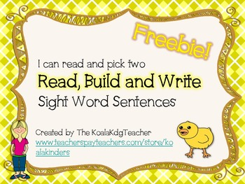 Chick Read, Build and Write Two freebie