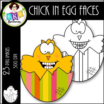 Chick in Egg-Faces ● Clip Art ● Products for TpT Sellers