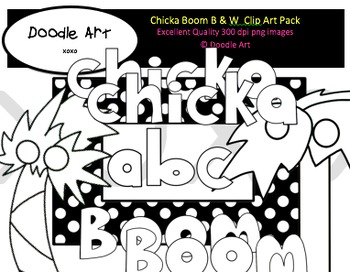 Chicka Boom B & W Clipart Pack