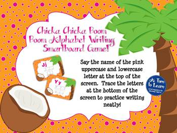Chicka Chicka Boom Boom ABC Writing Game for Smartboard or Promethean Board!