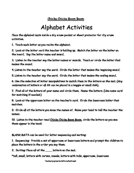 Alphabet Activity Mats with Activities for use with Chicka Chicka Boom Boom