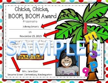 Chicka, Chicka, Boom, Boom Award {Editable!}