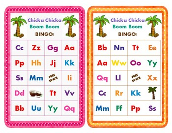 Chicka Chicka Boom Boom Bingo Cards (26 Bingo Cards & 28 Call-Out Cards)