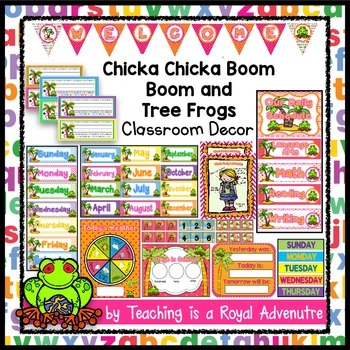 EDITABLE Chicka Chicka Boom Boom Classroom Decor (and Tree Frogs) BUNDLE