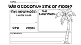 Chicka Chicka Boom Boom Coconut Sink or Float Experiment
