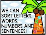 Chicka Chicka Boom Boom Letter/Word/Sentence Sort