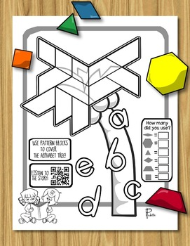 Alphabet Tree - Pattern Blocks + QR Code Listening Station ~FREEBIE!