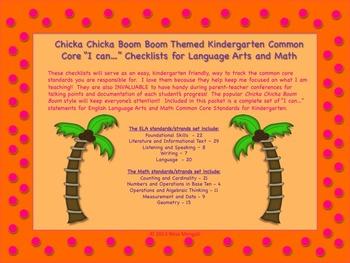Chicka Chicka Boom Boom Themed Kindergarten Common Core Checklist Lg Arts & Math