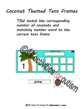 Chicka Chicka Boom Boom Themed Tens Frame Counting Activity 1-10--ABA emphasis