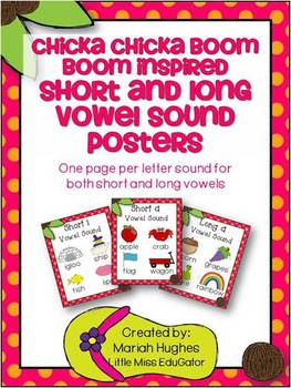 Chicka Chicka Boom Boom inspired Short and Long  Vowel Sound  Posters