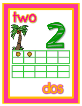 Chicka Chicka Inspired Number Posters 0-20 Dual Language with Ten Frames