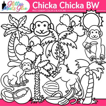 Chicka Boom Clip Art {Palm Trees, Monkey, & Flower for ELA Lessons} B&W