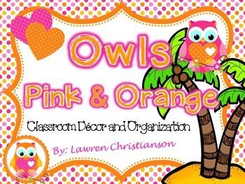 Editable Pink and Orange Polka Dot OWLS Classroom Decor & Organization BUNDLE