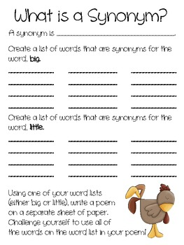 Chicken Cheeks, Using the book to learn about Synonyms & Antonyms