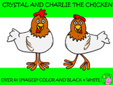 Chicken Clip Art Bundle // Charlie & Crystal Chicken Set: