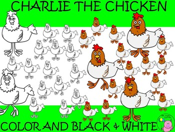 Chicken Clip Art // Charlie the Chicken Set: 32 Different Chicken Images
