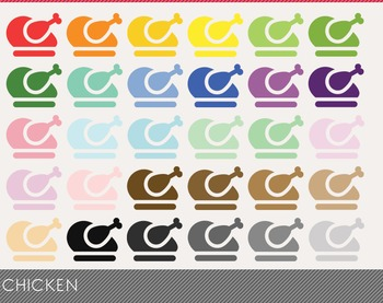 Chicken Digital Clipart, Chicken Graphics, Chicken PNG, Rainbow Chicken Digital