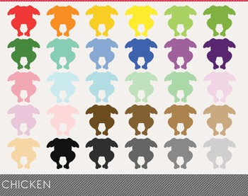 Chicken Digital Clipart, Chicken Graphics, Chicken PNG, Rainbow Chicken Digital