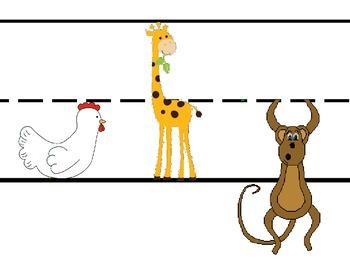 Chicken Giraffe Monkey Letters Poster