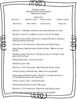Chicken Licken Adapted Reader's Theater