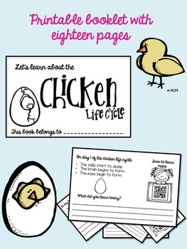 Chicken Life Cycle Printable Interactive Activity Booklet with QR Codes